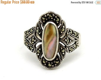 Valentines Lovers SALE Beautiful Art Deco Abalone Mother of Pearl Marcasite Sterling Silver Art Deco Vintage Ring