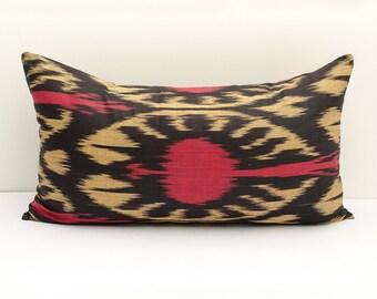 """21x12""""  red black cream ikat pillow cover, lumbar ikat, red ikats, red cream pillows, burgundy cream, cushions, Uzbek ikat pillows, ikats"""