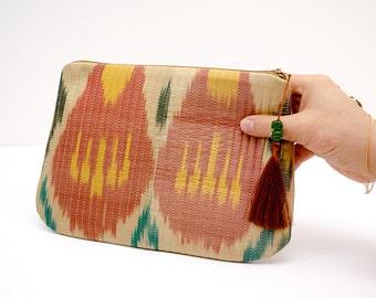 FOR SALE Ikat clutch bag purse, beige salmon yellow green ikat, yellow beige salmon, beige salmon yellow green