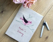 Personalised 2016 Diary with Bird Applique on Vintage Linen