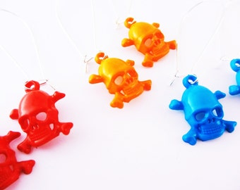 Earrings Skull and Crossbones Acrylic Red Orange Turquoise Your Choice of Color