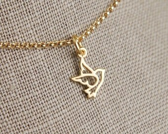 Tiny gold dove charm and gold filled necklace, dove necklace, bird charm necklace, gold bird necklace, gold dove pendant, peaceful, matte