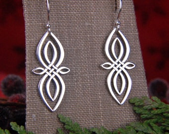 Celtic knot infinity pendant earrings in sterling silver, unique infinity, Irish jewelry, infinity earrings, silver infinity, large infinity