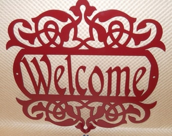 Welcome Sign, Scroll, Wall art, outdoor sign, housewarming gift, Wall decor, Front door, House sign, Metal Art, Cherry Red Powder Coated