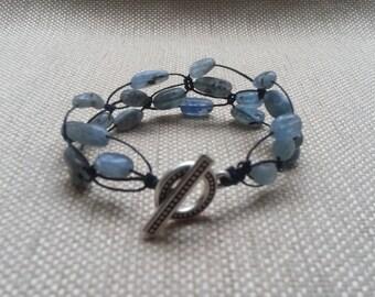 Waxed Linen Kyanite Bracelet