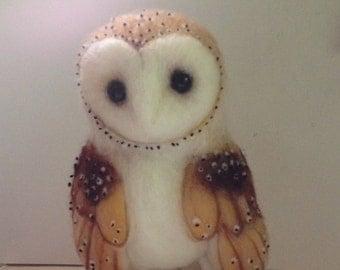 Barn Owl Felt Animal Needle-Felt Soft Sculpture Made to Order