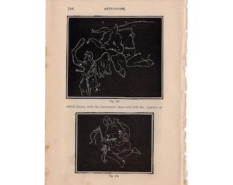 1882 ORION ZODIAC PRINT taurus constellation figures print - original antique celestial astronomy lithograph - auriga