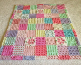"Custom Made - Vintage Chenille Baby Quilt -  ""Posies and Pops"" - Boutique quality handmade vintage chenille baby quilt"