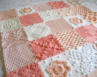 FREE SHIPPING Ready to ship -  Boutique Quality Vintage Chenille  Baby Quilt -  Peaches Plus