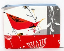 Small Zippered Pouch, Red Bird, Charley Harper Organic Cotton, Patchwork Bag