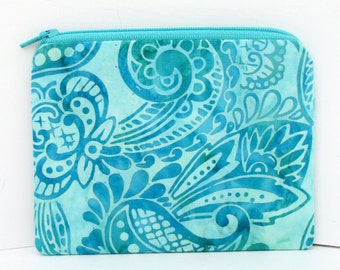Small Zipper Pouch, Seafoam Green Paisley Batik Bag
