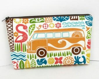 Make Up Cosmetic Zipper Pouch, Ipanema Love Bus Orange Camper Van, Organic Fabric