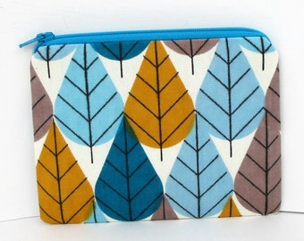 Small Zipper Pouch, Zippered Bag, Octoberama Leaves in Teal, Organic Cotton Canvas