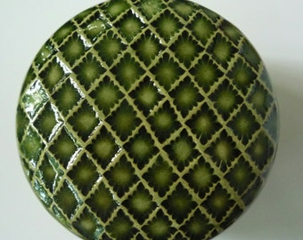 Emerald Green Lidded Jar Hand Carved  Flowers Jewelry  Box Flowers and Leaves Pottery