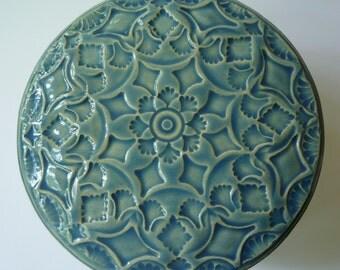 LIGHT blue  Lidded Jar  Light Blue  flower and  leaves  or Jewelry Box Ornate Hand  Carved Design