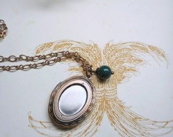 The Rambler : Forest Dweller Necklace. Antiqued copper locket Necklace (with organic bug & mosquito repellent) and Green Jade Sphere ooak