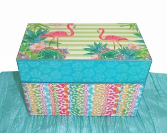 Recipe Box Wooden Personalized Tropical Flamingo Custom Designed