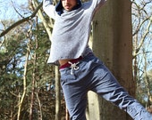 Winter Sale 15% Off!!! Blue tying stone washed denim cotton baggy pants, man pants, comfy pants