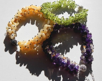 Stone Chip Bracelets Hand Sewn With Magnetic Clasps Amethyst Citrine Peridot or Aragonite