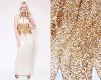 Vtg 90s Stunning Sequin Flower White Gold Baroque Trophy Halter Evening Gown Prom Dress L