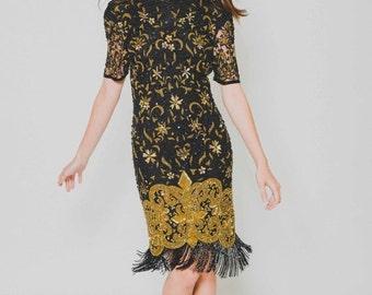 ON SALE 25% OFF Vtg 80s Designer Naeem Khan Riazee Stunning Posh Baroque Gold Black Fringe Sequin Trophy Dress Xs/S