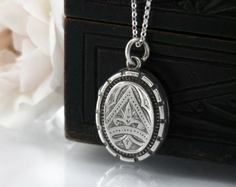 Antique Locket | Fleur de Lis Small Victorian Locket | Petite Sterling Silver Locket & Chain | English Silver Oval - 20 Inch Sterling Chain