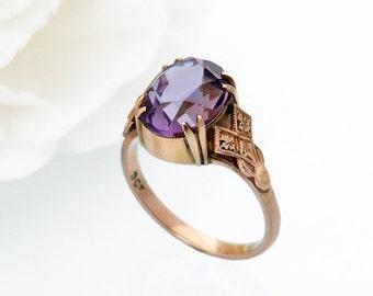 Antique Engagement Ring | Large Amethyst 9ct Rose Gold | Edwardian Ring Amethyst Dress Ring, Statement Ring - US Ring Size 6, UK Ring Size M