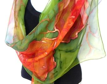 Hand Painted Silk Scarf, Orange Green Silk Chiffon Scarf, Roses, Floral Silk Scarf, Gift Under 50