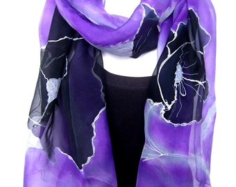 Poppies Silk Scarf, Hand Painted Silk Scarf, Amethyst Purple Gray Black, Floral Silk Chiffon Scarf, Gift For Her