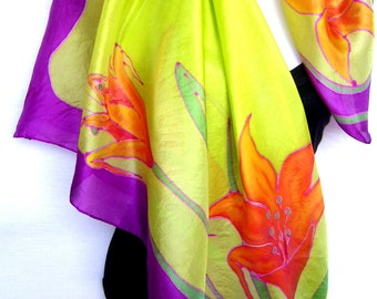 "Hand Painted Silk Scarf, Floral Silk Scarf Handpainted, Lilies, Lime Green Purple Orange, 35"" Square Silk Scarf, Gift For Her"