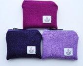 HARRIS TWEED coin purse , pink - lilac - purple - owl lining