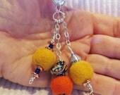 Lampwork beads, Keys, Scissors, Zipper Pull, Fob, Silver Hill Tribe beads, Valentines Day, Key Ring, felt, orange, blue, pandora
