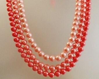 SALE Vintage Three Shades of Pink Pearls Necklace.  Japan. Three Strand Faux Pearls Necklace.