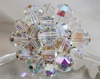 Vintage Austrian Crystal 1950s Brooch.  Austrian Crystals Pin. Aurora Borealis.