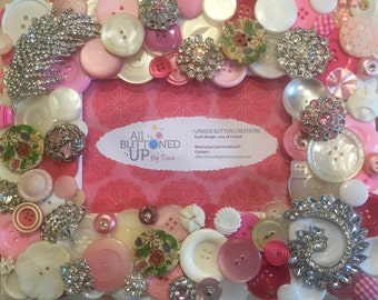 EXTRA SPARKLY Button Frame in Pink and White ~ Girls Bedroom ~ Nursery Gift ~ Gift for Baby Girl ~ Wedding Gift ~ Gift for Her ~ 4x6 photo