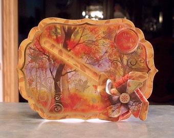 """3-D Spinning Pinwheel Card - 4.75"""" x 6.75"""" -Fall Themed - You Blow Me Away"""