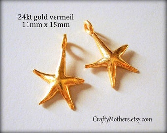 Use TAKE10 for 10% off! 10 Bali 24kt Vermeil Starfish Charms, 5mm x 11mm, artisan-made jewelry supplies, earrings, necklace, bracelet