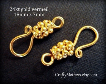 Take 15% off with 15OFF20, TWO Bali 24kt Gold Vermeil Granulated Hook Clasps, 18mm x 7mm, artisan-made jewelry supplies, bracelet