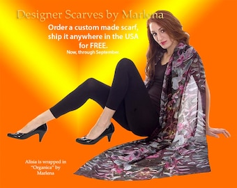 Scarves Free Shipping Made in USA Vibrant Colors by Marlena