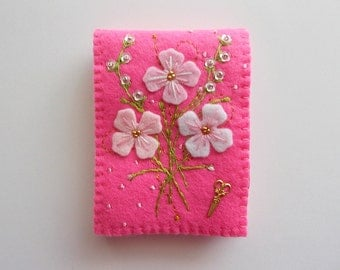 Needle Book Hot Pink Felt Cover with Hand Embroidered  Felt Flowers Sequin Flowers Dots and Brass Scissors Charm Handsewn