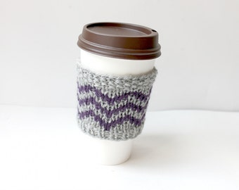 Knit Coffee Cozy, Eco Cup Sleeve, Wool Cup Cozy, Trendy Gift, Wool Coffee Sleeve, Reusable Cup Cozy, Coffee Lover Gift, Purple Stripes