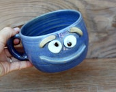 Ug Chug Pottery Bowl. Blue Happy Smiley Face. Fun Cereal Bowls with Handle. Soup Mugs. Chili Bowls. Popcorn Bowl Set. Latte Cappuccino Cup.