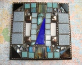 MOSAIC LIGHT SWITCH Plate Cover - Double, Shades of Blue