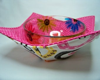 Microwave Bowl Cozy - Lucky Charm in White - Bowl Pot Holder - Reversible -  Ready to Ship