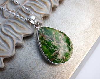 Green Sea Sediment Jasper Pendant - Sterling Silver Ball Chain - Gemstone Necklace