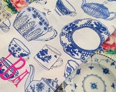 Monogram blue and white china tea towel