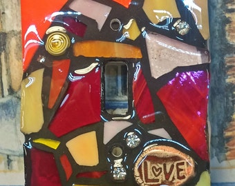 STARBURST Mix Glass Mix - Red/Orange/Yellow/Pink - STAINED Glass MOSAIC Light Switch Cover - single, double, triple, outlet, or decora gfci