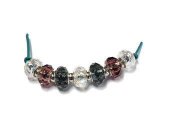 Crystal Mix Faceted Glass Rondelle Beads - 7 bead strand - large hole beads for european style bead charm bracelets