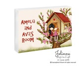 Sisters room door sign, personalized kids door sign, children's art, twin sisters plaque, baby name plates, kids door signs, girl room signs