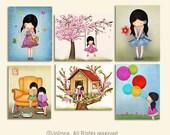 Set of 6 art prints, wall art for kids room, prints, nursery art, kidswallart, decorate childrens room